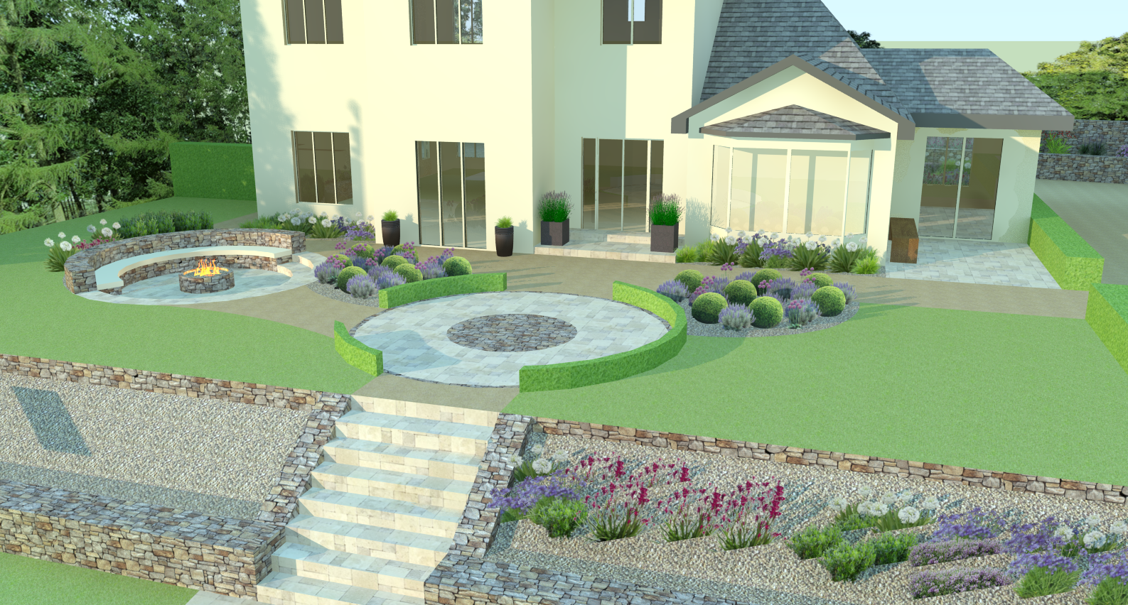 Front-garden-design-sunken-firepit-Cratloe