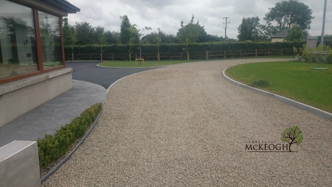 Gravel driveway with limestone kerbing in Adare co limerick