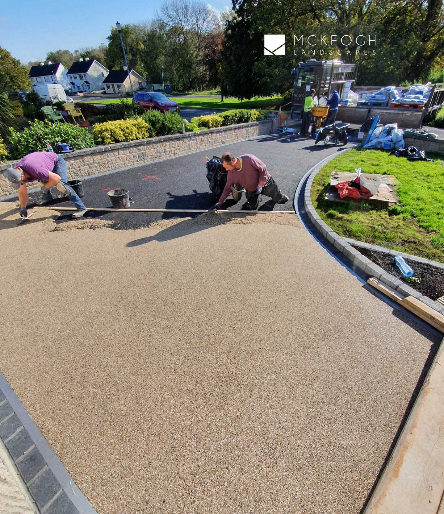 Resin bound gravel being laid on the driveway in Co Clare